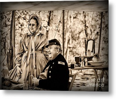 Civil War Officer And Wife Metal Print by Paul Ward