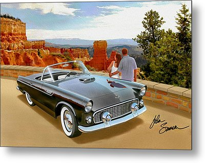 Classic 1955 Thunderbird At Bryce Canyon Black  Metal Print by John Samsen