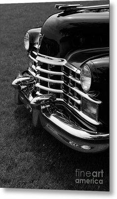 Classic Cadillac Sedan Black And White Metal Print by Edward Fielding