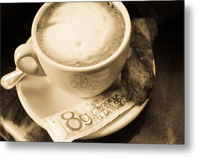 Classic Cafe Con Leche Cup In Spain Metal Print by Calvin Hanson