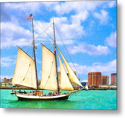 Classic Tall Ship In Boston Harbor Metal Print by Mark E Tisdale