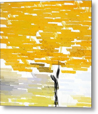 Classy Yellow Tree Metal Print by Lourry Legarde