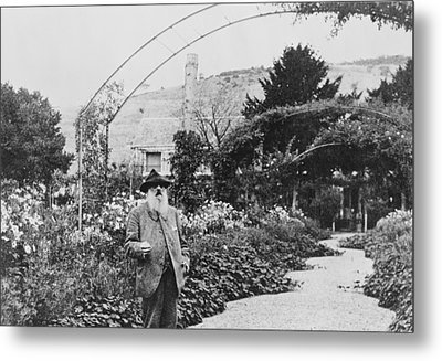 Claude Monet In His Garden At Giverny Metal Print by French School