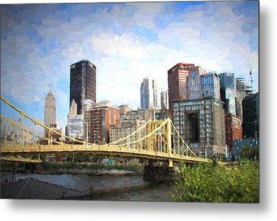 Clemente Bridge Painting Look Metal Print by Stephen Falavolito