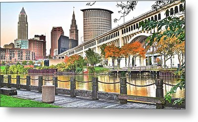 Cleveland Panorama Over The Cuyahoga Metal Print by Frozen in Time Fine Art Photography