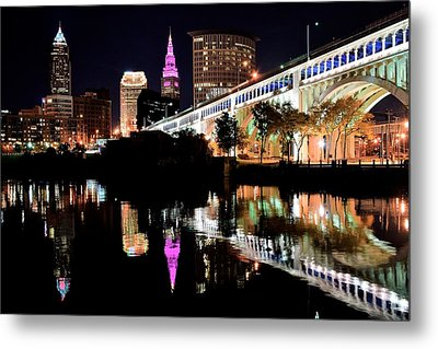 Cleveland Ohio Reflects Metal Print by Frozen in Time Fine Art Photography