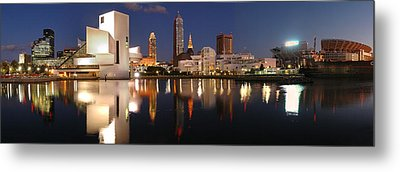 Cleveland Skyline At Dusk Metal Print by Jon Holiday