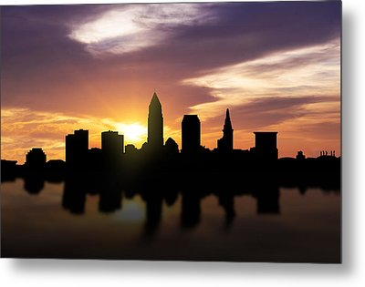 Cleveland Sunset Skyline  Metal Print by Aged Pixel