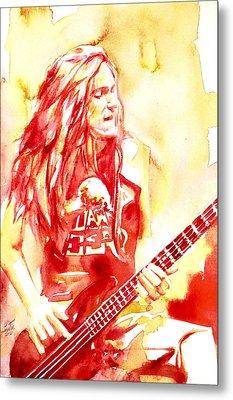 Cliff Burton Playing Bass Guitar Portrait.1 Metal Print by Fabrizio Cassetta