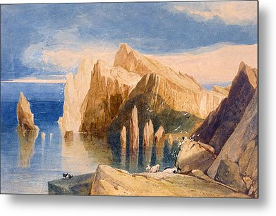 Cliffs On The North East Side Of Point Metal Print by John Sell Cotman