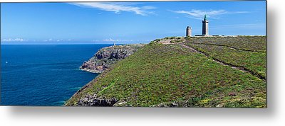 Cliffs With Two Lighthouses Metal Print by Panoramic Images