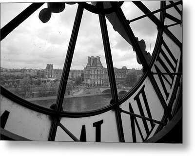 Clock At Musee D'orsay Metal Print by Chevy Fleet