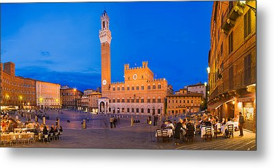 Clock Tower With A Palace In A City Metal Print by Panoramic Images