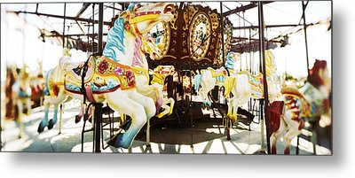 Close-up Of Carousel Horses, Coney Metal Print by Panoramic Images
