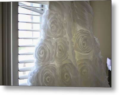 Close-up Of Flower Wedding Dress Metal Print by Mike Hope