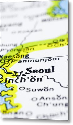 close up of Seoul on map-korea Metal Print by Tuimages