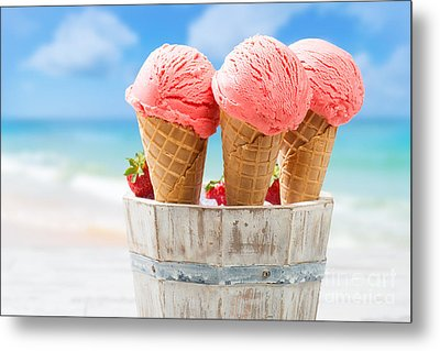 Close Up Strawberry Ice Creams Metal Print by Amanda Elwell