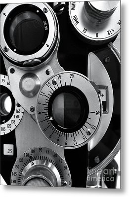 Closeup Of A Phoropter Eye Examination Equipment Metal Print by Amy Cicconi
