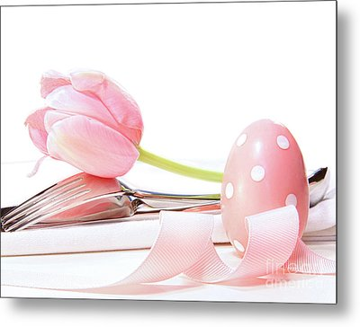 Closeup Of Tulip And Utensils On Pale Pink Metal Print by Sandra Cunningham
