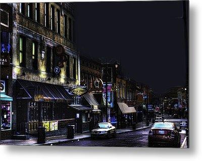 Memphis - Night - Closing Time On Beale Street Metal Print by Barry Jones