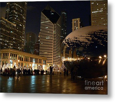 Cloudgate In Snow Metal Print by David Bearden