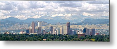 Clouds Over Skyline And Mountains Metal Print by Panoramic Images