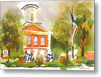 Cloudy Day At The Courthouse Metal Print by Kip DeVore