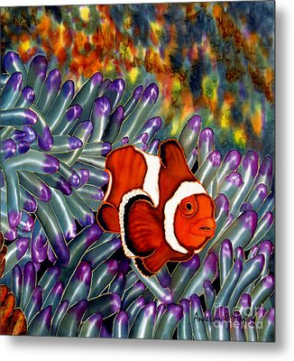 Clown Fish In Hiding Metal Print by Anderson R Moore