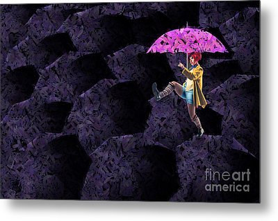 Clowning On Umbrellas 02 - A08-purple Metal Print by Variance Collections