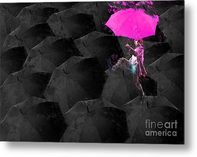 Clowning On Umbrellas 03 - 02a12 Metal Print by Variance Collections