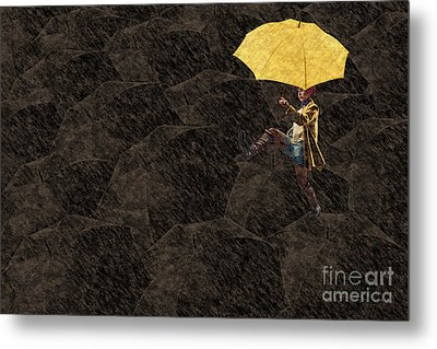 Clowning On Umbrellas 03 - A12 Metal Print by Variance Collections