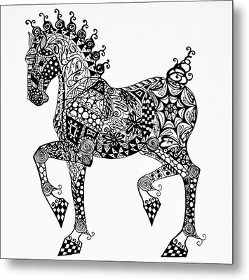 Clydesdale Foal - Zentangle Metal Print by Jani Freimann
