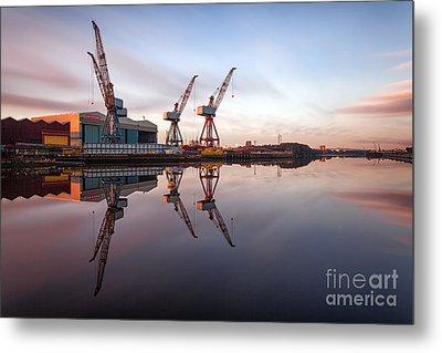 Clydeside Cranes Long Exposure Metal Print by John Farnan