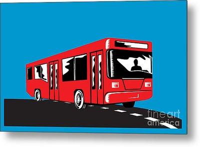 Coach Bus Shuttle Retro Metal Print by Aloysius Patrimonio