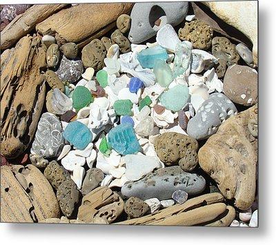 Coast Seaglass Art Prints Shells Fossils Driftwood Metal Print by Baslee Troutman