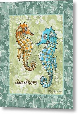 Coastal Sea Horse Painting Whimsical Damask Pattern Sea Shore Metal Print by Megan Duncanson