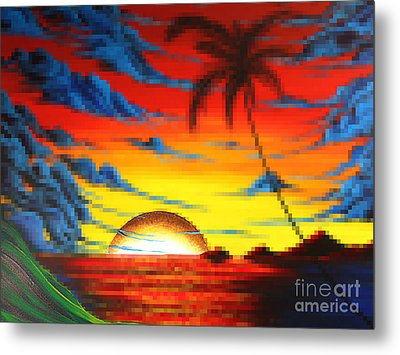 Coastal Tropical Abstract Colorful Pixel Art Digital Painting Compilation Tropical Bliss By Madart Metal Print by Megan Duncanson
