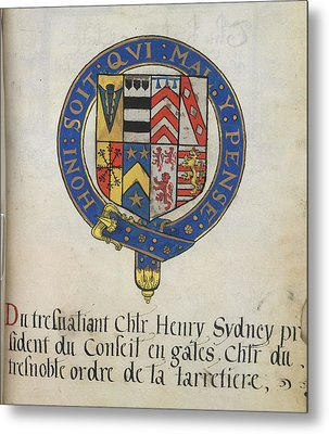 Coat Of Arms Of Sir Henry Sydney Metal Print by British Library