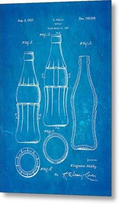 Coca Cola Bottle Patent Art 1937 Blueprint Metal Print by Ian Monk