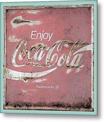 Coca Cola Pastel Grunge Sign Metal Print by John Stephens