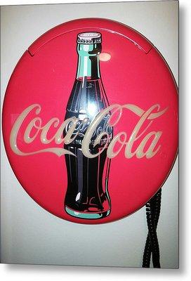 Coca Cola Wall Phone Metal Print by Earnestine Clay