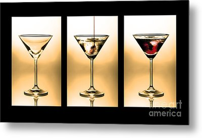 Cocktail Triptych In Gold Metal Print by Jane Rix
