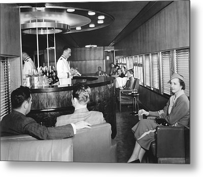 Cocktails On The Mercury Train Metal Print by Underwood Archives