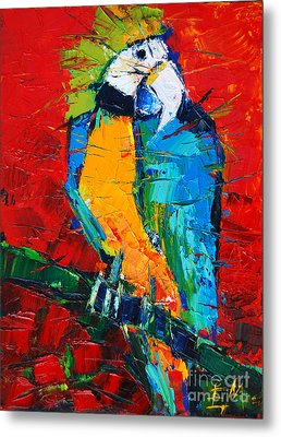 Coco The Talkative Parrot Metal Print by Mona Edulesco