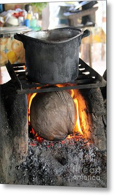 Coconut Stove Playa Paraiso Metal Print by Linda Queally