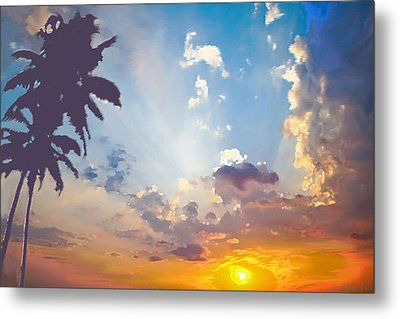 Coconut Trees In The Sunset Metal Print by Dominique Amendola