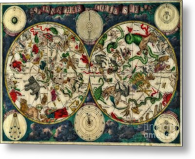 Coeletste Old World Map Metal Print by Inspired Nature Photography Fine Art Photography