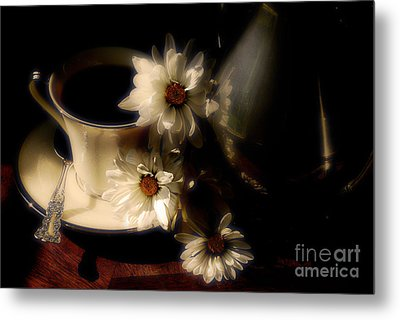 Coffee And Daisies  Metal Print by Lois Bryan
