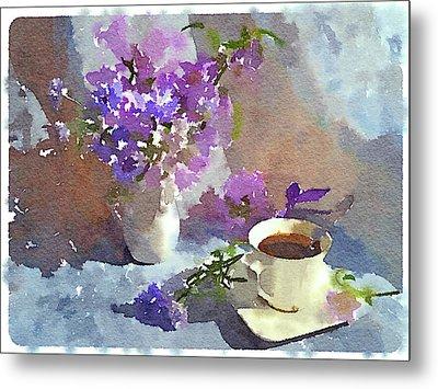 Coffee And Flowers Metal Print by Yury Malkov