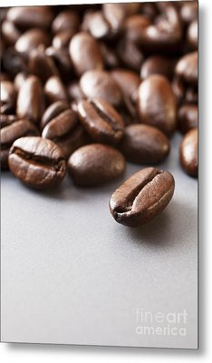 Coffee Beans On Grey Ceramic Surface Metal Print by Colin and Linda McKie